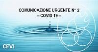 COMUNICAZIONE URGENTE N°2 - COVID 19